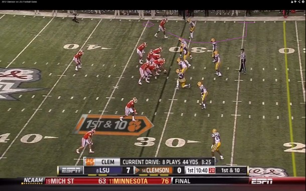 Hopkins in man coverage vs LSU's Jalen Mills (A future star in his own right)