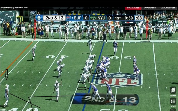 Here I diagram the route that Johnson will be running, an out pattern which looks to be 12 to 15 yards at depth.